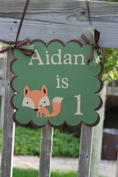 Woodland Fox Door Welcome Sign Fox Birthday Party by AngiesDesignz, $13.00