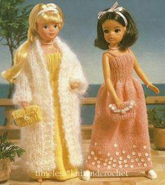 KNITTING PATTERN FOR SINDY / BARBIE DOLL EVENING CLOTHES DRESS, COAT & BAG | eBay