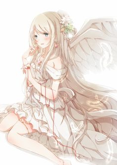 Anime picture 868x1228 with original hiro (hirohiro31) long hair single tall image blush blue eyes open mouth white white hair hair flower girl dress flower (flowers) wings feather (feathers) thread red thread