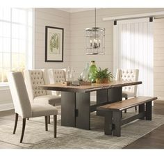 Scott Living Marquette Live Edge Dining Table Set with Bench - Coaster Fine Furniture Dining Table In Kitchen, Live Edge Dining Table, Dining Table Setting, Solid Wood Dining Table, Black Dining Room, Black Dining Room Furniture, Mahogany Dining Table, Side Chairs Dining, Wood Dining Table