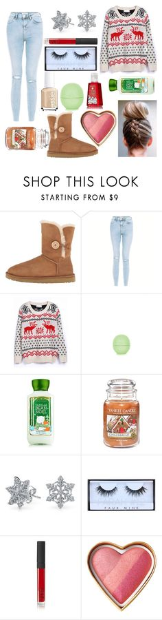 """""""Winter outfit"""" by fashionangel8908 ❤ liked on Polyvore featuring UGG Australia, New Look, WithChic, Topshop, Yankee Candle, Bling Jewelry, Huda Beauty, NARS Cosmetics and Essie"""