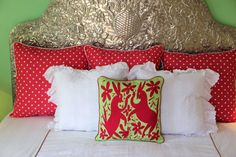 Deep Fuchsia on Lime and white gingham hand embroidered Otomi Sham Sca – Casa Otomi Mexico, Tenango, wedding, textile, mexican suzani, embroidery, hand embroidered, otomi, fiber art, mexican, handmade, casa, decor, interior, frida, kahlo, folk, folk art, house, home, puebla, las flores, cushion, serape, preppy, gingham, polka dots, pink, lime, green, lily pulitizer, pouf, elle decor, boho, style, bestey johnson, lily pultizer, interior, stripes, southern living, southern style,