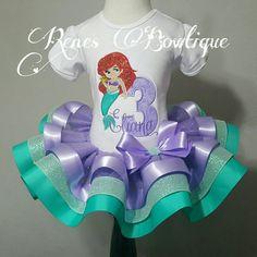 Sirena Deluxe cumpleaños cinta tutú conjunto  Traje de fiesta