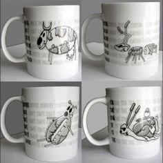 Mug Design ilustration - coffe, milk, cocoa, tea - by silvanuno.com
