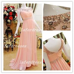 Discount 2014 Hot Gorgeous Crew A Line Coral Chiffon Vintage Prom Dresses with Cap Sleeve Embellished Beads Evening Dress Formal Dresses 1118 Online with $135.0/Piece | DHgate