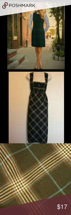 Plaid Sleeveless Maxi Dress Super Cute dark plaid (dark blue, black, cream, brown) maxi dress. Hits right below the knee. Can be worn by itself or paired with a really cute blouse for the office!   No signs of wear except for top button missing (not noticeable) Elementz Dresses Maxi