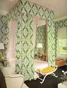 """David Hicks designed bedroom in an 18th century country house in England. From the book """"David Hicks on Decorating with Fabrics"""" - World Publishing 1971. Obsession isn't a strong enough word."""
