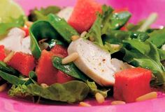 Salat med kylling, melon og rødløg