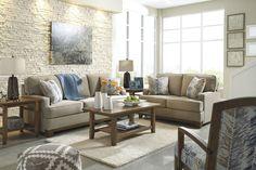 Hillsway Traditional Pebble Fabric Solid Wood Living Room Set