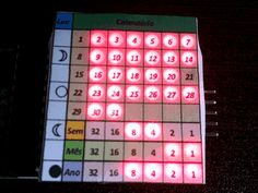 Tiny Calendar and Clock featuring Moon Phase in a LED Matrix
