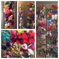Love our new cheer bow holder! Used wire closet shelving, hung it vertically on hinges to create two sided storage, like closet doors! Clips with s-hooks on one end and badge holder clips on the other allow the bows to hang on the wire!