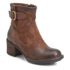 Women's B?rn Gunn Engineer Bootie ($150) ❤ liked on Polyvore featuring shoes, boots, ankle booties, rust distressed leather, born booties, born boots, short boots, bootie boots and ankle bootie boots