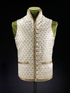 1788-1790, Waistcoat England by Maze & Steer Ivory satin woven to shape. collections.vam.ac.uk