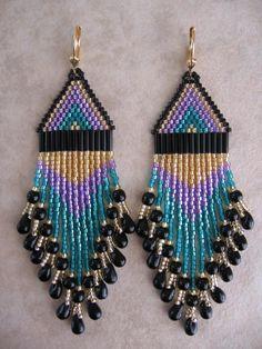Seed Bead Beadwoven Earrings  Purple/Teal/Black  Free by pattimacs, $26.00