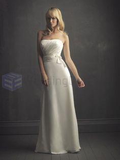 Column Satin Ruched Bodice Softly Curved Neckline Sweep Train Wedding Dresses