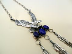 Sterling Silver Eagle Necklace With Lapis And Dangle Feathers.  www.EagleDancerGallery.com