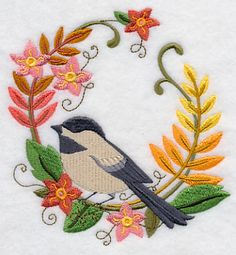Chickadee in Autumn Wreath design (H7033) from www.Emblibrary.com