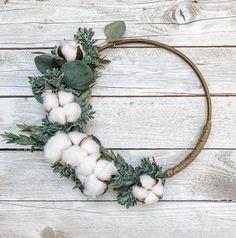 Hoop Wreath, Fall Cotton Door Wreath, Custom Size Wreath, Farmhouse Style, Kitchen Decor, Back to Sc