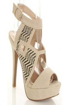 Stone Zig Zag Woven Cut Out Design Faux Leather Trim Peep Toe Heels