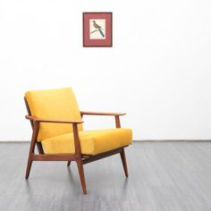 Velvet-Point - armchairs / easy chairs 1960s teak armchair, Scandinavian style, reupholstered - Karlsruhe