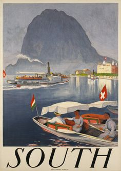 OTTO BAUMBARGER, circa 1924 Lugano, Switzerland Tourism, Swiss Travel, Vintage Travel Posters, Poster Vintage, Tourism Poster, Travel Ads, Advertising Signs, Japan