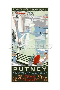 Putney, for River and Heath, London County Council (LC) Tramways Poster, 1932 Landscapes Giclee Print - 41 x 61 cm