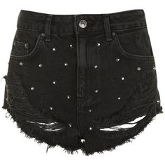 Topshop Moto Kiri Stud Shorts ($44) ❤ liked on Polyvore featuring shorts, high waisted ripped shorts, highwaist shorts, distressed studded shorts, topshop shorts and destroyed shorts