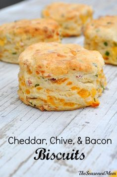 These Cheddar, Chive and Bacon Biscuits are the perfect, simple recipe for breakfast, brunch, or a dinner side dish! Plus, only 15 minutes of prep!