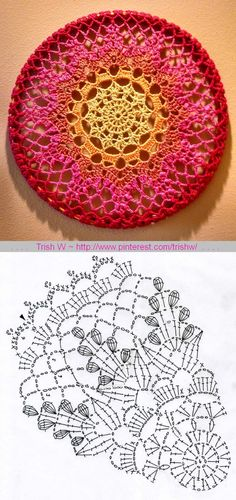 """Japanese Gentian doily, free pattern diagram by Chinami Horiba. Pic from Ravelry Project Gallery by TheRamblinRosie, worked in Caron Simply Soft & mounted on 21"""" small child's hula hoop. . . . . ღTrish W ~ http://www.pinterest.com/trishw/ . . . . #crochet"""
