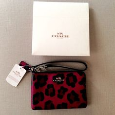 "NWT Coach Ocelot Pink Leopard Wristlet Ocelot Print Pink Leopard Gold Hardware - Ocelot Print Hang Tag Corner Zip Closure - 2 Credit Card Slots - gift box included. Approximate Measurements Length:   6""  Height:  4 1/4""  Strap Drop:  6"" Coach Bags Clutches & Wristlets"