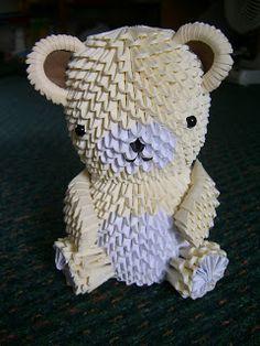 Jewellia handicrafts: big 3D origami bear with 3D limbs