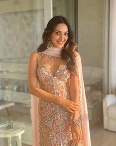 Kiara Lal Advani stuns in a baby pink embroidered jacket and lehenga set teamed with a chiffon dupatta that has shell detailing. Indian Fashion Dresses, Indian Designer Outfits, Designer Dresses, Fashion Outfits, Lehenga Designs, Indian Wedding Outfits, Indian Outfits, Pakistani Outfits, Indian Attire