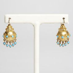 Persian Turquoise and Gold Pendent Drop Earrings - Ralph Lauren Estate Collection