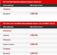 Hôm nay là ngày cuối cùng để đặt vé giá rẻ của Airasia. Bạn nào quan tâm thì nhanh lên nhé:  Thời hạn Đặt vé : 19/11/2012 - 25/11/2012   Thời hạn Bay : 1/2/2013 - 30/4/2013   Ghi chú: số lượng có hạn, bán một số ngày nhất định, số lượng vé có thể bán hết trước khi kết thúc chương trình.