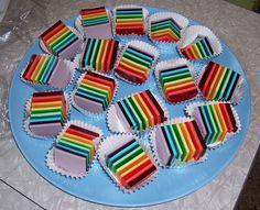 rainbow jello served on pastry liner