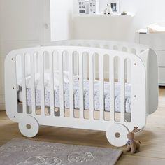 Cot with bed base. Its shape gives it a fabulously retro feel inspired by the Adjustable. Baby Comforter, Baby Bedding Sets, Home Furnishing Accessories, Home Furnishings, Baby Bedroom, Kids Bedroom, Unique Cribs, Newborn Bed, Bed Base