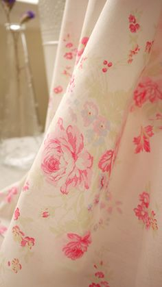 Rose Fabric White Fabric White Cotton with Pink Rose by fabricmade