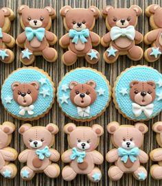 Resultado de imagem para biscoito decorado carinha de urso