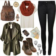 khaki green bag jacket jeans leggings scarf top kahki blouse shoes jewels military romper autumn coat fall outfits brown boots fabulous wint...