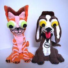 Silly clay animal brush head figures - via The Art Annex