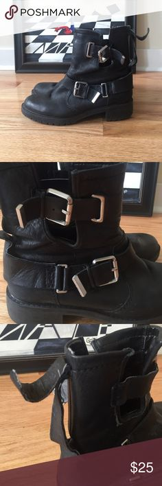 Zara black leather Moro boot Black leather Moto boots by Zara with silver buckle details. Slip-on. Size 6.5 Zara Shoes Ankle Boots & Booties