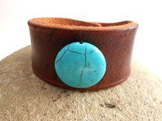 Leather Wristband  Turquoise Women's Leather Jewelry by MishaGirl, $35.00