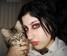 """For today's #flashbackfuzzfriday we present you with this gem from both HuMom and Mr. Fuzzhead's past circa 2005 from what we can only describe as HuMom's """"goth"""" phase.  College was tough folks real tough from the looks of it. But everyone had a goth phase right? RIGHT?!   #smokingclovesdancinginacorner #cute4kind #adoptdontshop #adoptedcat  #mainecoon #catsrequest #catsofinstagram @cats_of_instagram #buzzfeedanimals @buzzfeedsanimals #ilovemycat #cutecatcrew #best_cats #excellent_cats…"""