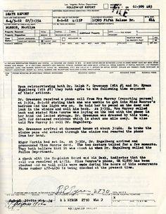 Marilyn Monroe Police Report -