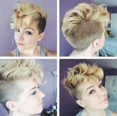 curly pixie hairstyle with side undercut
