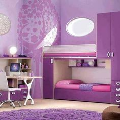 Purple Room ~ Purple is a stimulating color, so it might serve better in the playroom. I do love the layout of this room.