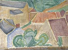"""""""Landscape With Buildings"""" by Vanessa Bell (1879-1961, United Kingdom)"""