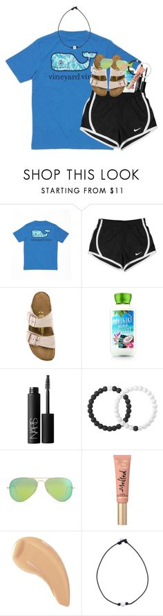 """going to the beach in a few weeks☀️"" by classynsouthern ❤ liked on Polyvore featuring Vineyard Vines, NIKE, Birkenstock, NARS Cosmetics, Lokai, Ray-Ban and Too Faced Cosmetics"