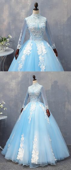 Blue tulle high neck beaded long formal prom dress, long lace prom gown with sleeves #prom #dress #promdress #promdresses #gowns