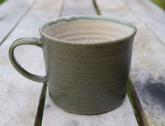 Handmade ceramic mug, Dark green stoneware glaze on the outside, white on the inside. hand crafted on a potter's wheel by TimFennaCeramics on Etsy Handmade Ceramic, Handmade Pottery, Handmade Gifts, Stoneware, Ceramics, Mugs, Dark, House Styles, Tableware